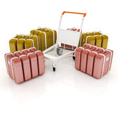 Trolley for luggage at the airport and luggage — Stock Photo