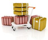Carrito para equipaje en el aeropuerto y equipaje — Foto de Stock