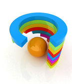 Abstract colorful structure with ball in the center  — 图库照片