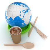 Coffe in fast-food disposable tableware and earth — Stock Photo