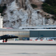 Militar airplane taking off from Gibraltar Airport — Stock Photo