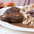 Jerk Chicken with Rice - Caribbean Style — Stok fotoğraf