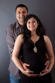 Happy East Indian Husband with his Pregnant wife — Stock Photo