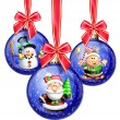 Whimsical Cartoon Christmas Balls with Santa, Snowman and Elf — Stock Photo #12600495