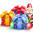 Whimsical Christmas Gifts and Nutcracker — Stock Photo #12600520