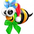 Stock Photo: Whimsical Cartoon Bee with SantHat