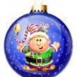 Whimsical Cartoon Elf Christmas Ball — Stock Photo #12600557