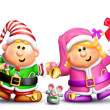 Stock Photo: Whimsical Boy and Girl Elves Holding Hands