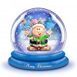 Stock Photo: Whimsical Cartoon Elf Snow Globe