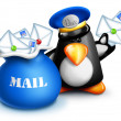 Stock Photo: Whimsical Cartoon Penguin Mailmwith Mail Bag