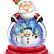Stock Photo: Whimsical Cartoon SantLeaning Over Snow Globe