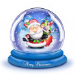 Stock Photo: Whimsical Cartoon SantSnow Globe