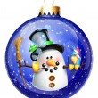 Whimsical SnowmChristmas Ball — Stock Photo #12600617