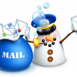 Stock Photo: Whimsical SnowmMailmwith Letters and mail bag