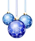 синий снежинки елочные шары — Стоковое фото