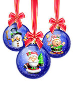 Whimsical Cartoon Christmas Balls with Santa, Snowman and Elf — Stock Photo