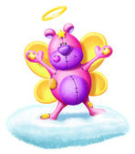 Whimsical Fair Teddy Bear with Halo — Stock Photo