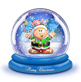 Whimsical Cartoon Elf Snow Globe — Stock Photo