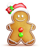 Cartoon Gingerbread Man with Santa Hat — Stock Photo