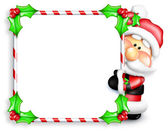 Whimsical Cartoon Santa Peeking Around Candy Cane Sign — Stock Photo