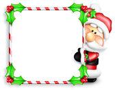 Whimsical Cartoon Santa Peeking Around Candy Cane Sign — Stock Photo