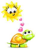 Tartaruga desenho caprichoso e sol com corações — Fotografia Stock