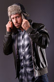 Handsome man in leather jacket — Stock Photo