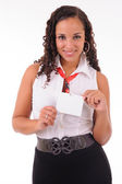 Hostess showing her badge — Stock Photo