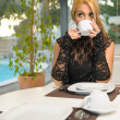 Woman having coffee in the morning — Stock Photo