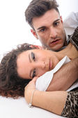 Couple close together on the floor — Stock Photo