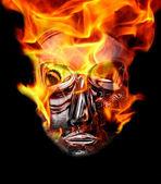 Crystal mask with burning corona — Stock Photo
