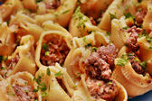 Pasta with minced meat and herbs — Stock Photo