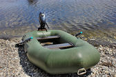 Inflatable motor boat on the Volga — Stock Photo