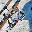 Stock Photo: Fragment Fishing rods with reels