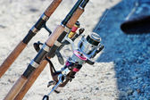 Fragment Fishing rods with reels — Stock Photo