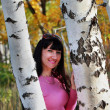 Happy girl about two birches — Stock Photo