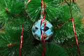 Blue Christmas ball on the tree — Stok fotoğraf