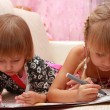 Girls sisters draw — Stock Photo