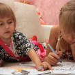 Girls paint pens drawing — Stock Photo