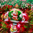Christmas balls in tinsel — Stock Photo