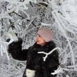 Stock Photo: Girl in winter forest