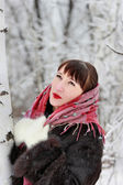 Beautiful woman in winter forest near birch — Stock Photo