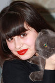 Portrait of a young girl with a British cat in hands — Stock Photo