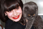 Happy girl holds a British cat — Stock Photo