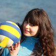 Portrait of a girl with a volleyball Ball — Stock Photo