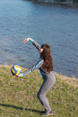A girl playing volleyball — Stock Photo