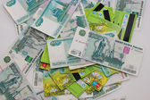 Plastic cards are on the Russian money — Stock Photo