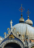 Detail of facade, San Marco Basilica in Venice — Stock Photo