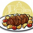 Beef roulade with roasted potato and tomato — Stock Vector