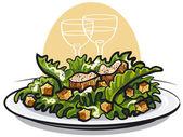 Caesar salad with chicken — Stock Vector